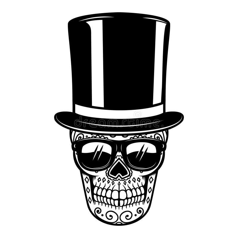 Μεξικάνικο κρανίο ζάχαρης στο εκλεκτής ποιότητας καπέλο και τα γυαλιά ηλίου ημέρα νεκρή Στοιχείο σχεδίου για την αφίσα, ευχετήρια διανυσματική απεικόνιση
