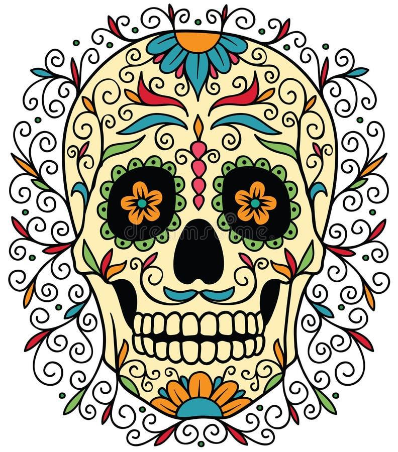 Μεξικάνικο κρανίο ζάχαρης ελεύθερη απεικόνιση δικαιώματος