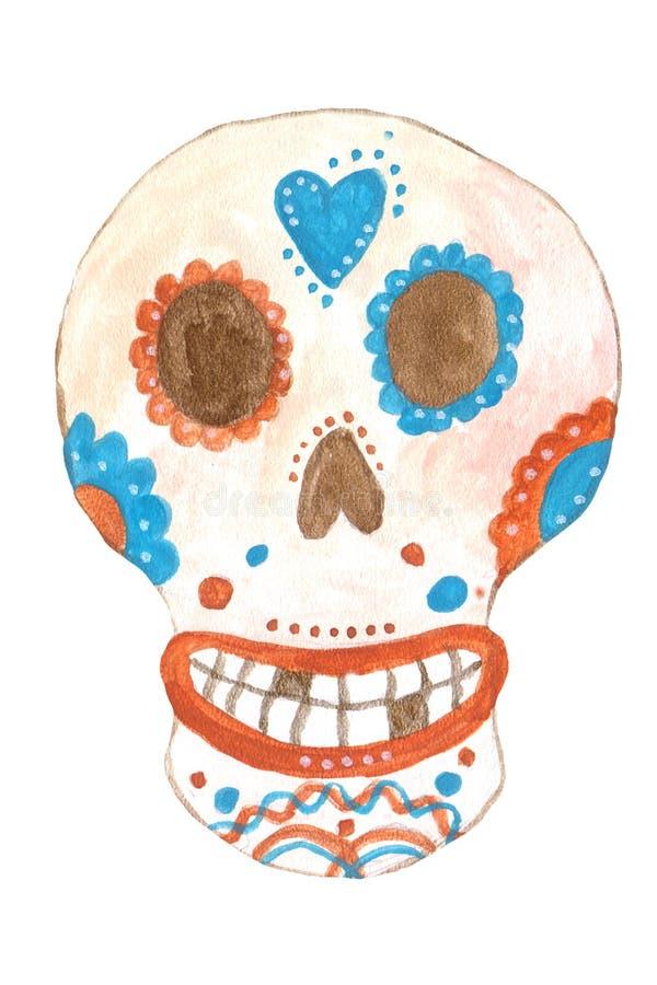 Μεξικάνικο κρανίο στο ύφος Frida Kahlo, γκουας διανυσματική απεικόνιση