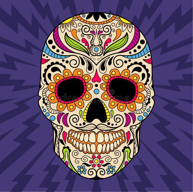 Μεξικάνικο κρανίο, το αρχικό σχέδιο διάνυσμα διανυσματική απεικόνιση
