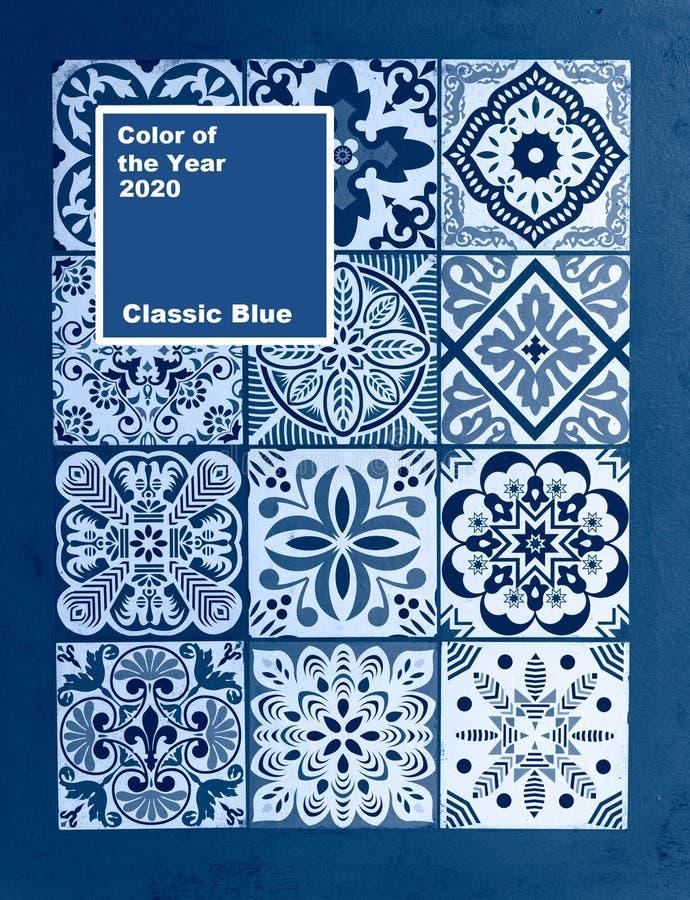 Μεξικάνικο μπλε κλασικό φόντο Coy2020, χρώμα της χρονιάς στοκ εικόνα