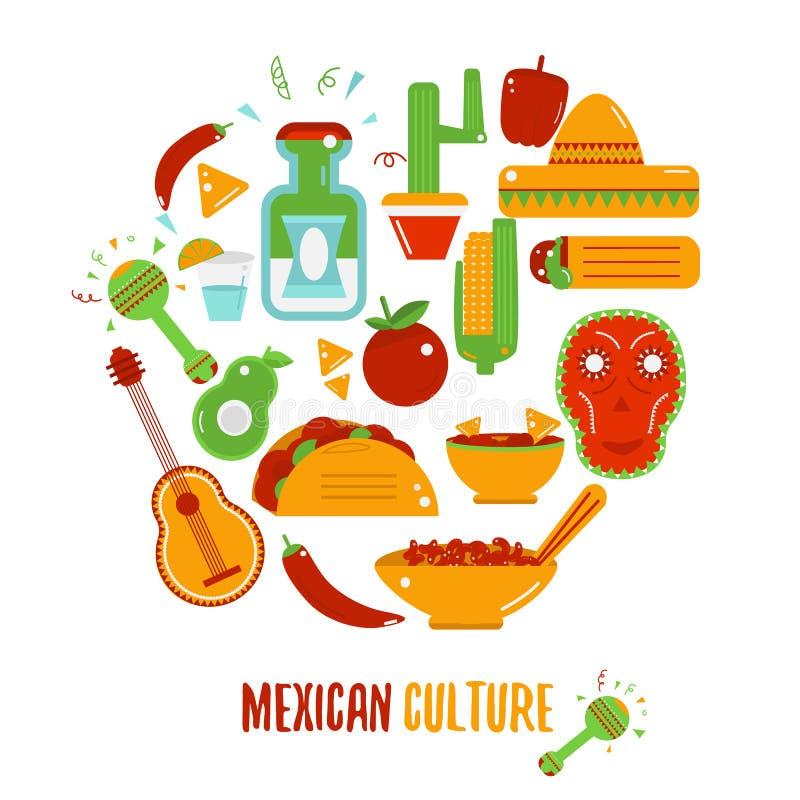 Μεξικάνικο λογότυπο πολιτισμού για τις ετικέτες, τα εμβλήματα και τα διακριτικά, σύνολο διανυσματικών στοιχείων σχεδίου ελεύθερη απεικόνιση δικαιώματος