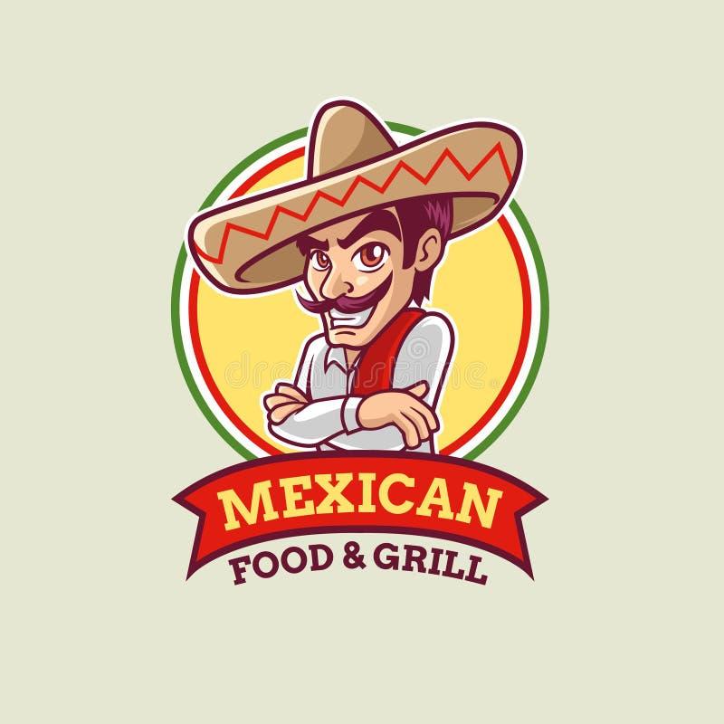 Μεξικάνικο πρότυπο λογότυπων τύπων κινούμενων σχεδίων ελεύθερη απεικόνιση δικαιώματος