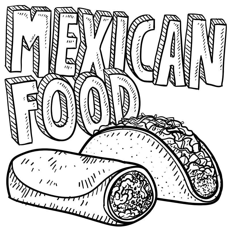Μεξικάνικο σκίτσο τροφίμων ελεύθερη απεικόνιση δικαιώματος