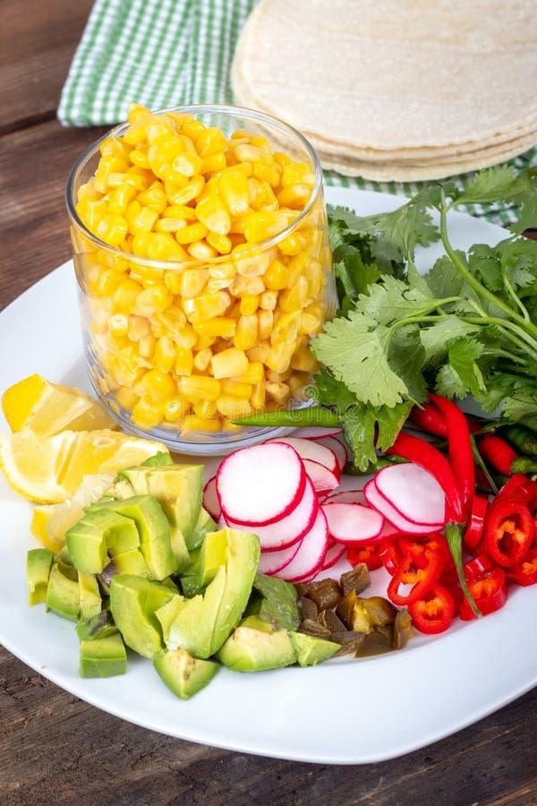 Μεξικάνικο συστατικό τροφίμων για το taco καλαμποκιού στοκ εικόνες