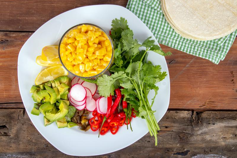 Μεξικάνικο συστατικό τροφίμων για το taco καλαμποκιού στοκ εικόνα με δικαίωμα ελεύθερης χρήσης