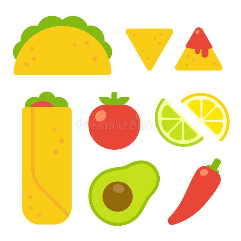 Μεξικάνικο σύνολο τροφίμων ελεύθερη απεικόνιση δικαιώματος