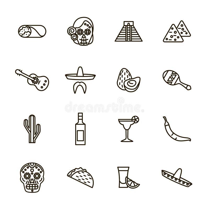 Μεξικάνικο ταξιδιού και τουρισμού σύνολο εικονιδίων γραμμών σημαδιών μαύρο λεπτό διάνυσμα απεικόνιση αποθεμάτων