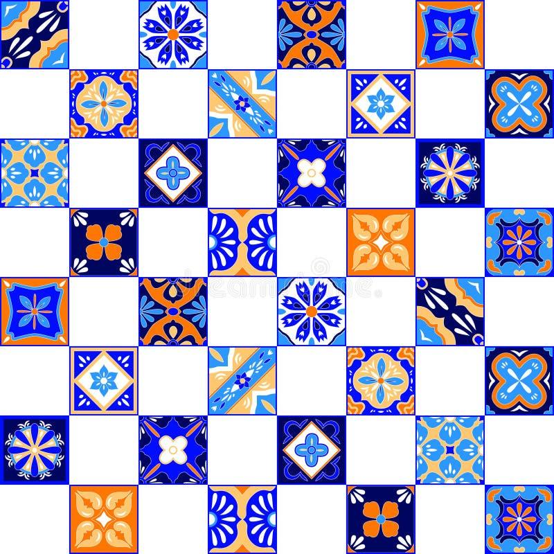 Download Μεξικάνικο τυποποιημένο Talavera κεραμώνει το άνευ ραφής σχέδιο στο μπλε πορτοκάλι και το λευκό, διάνυσμα Διανυσματική απεικόνιση - εικονογραφία από καλλιέργεια, απεικόνιση: 62714699