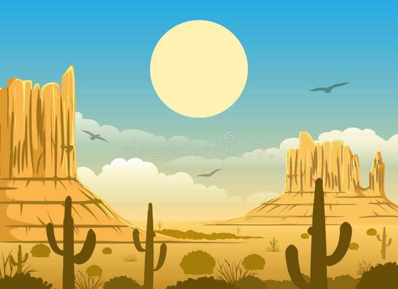 Μεξικάνικο υπόβαθρο ηλιοβασιλέματος ερήμων απεικόνιση αποθεμάτων