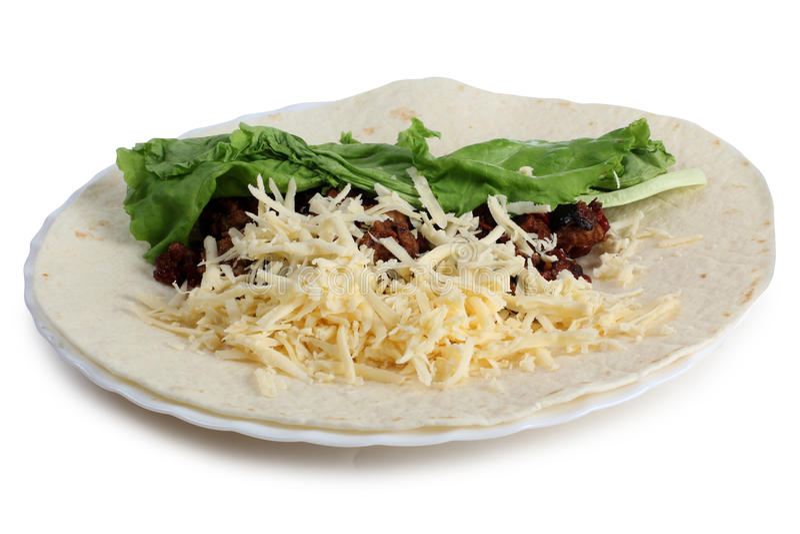 Μεξικάνικο burrito στο λευκό στοκ εικόνες με δικαίωμα ελεύθερης χρήσης