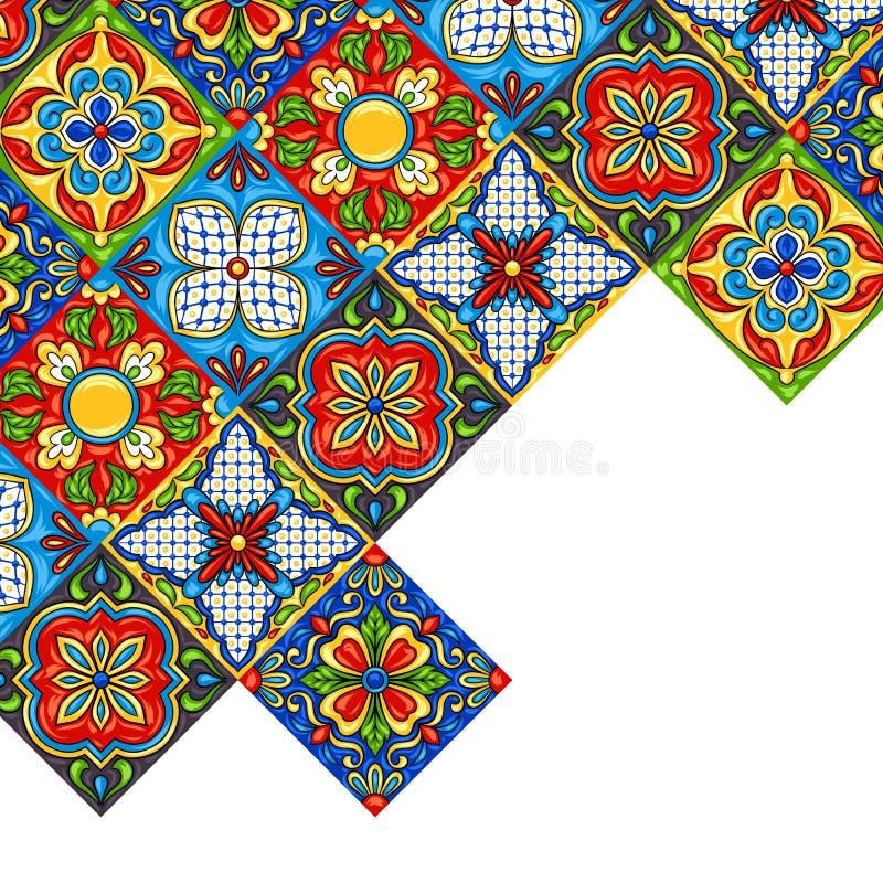 Μεξικάνικο talavera σχέδιο κεραμικών κεραμιδιών διανυσματική απεικόνιση