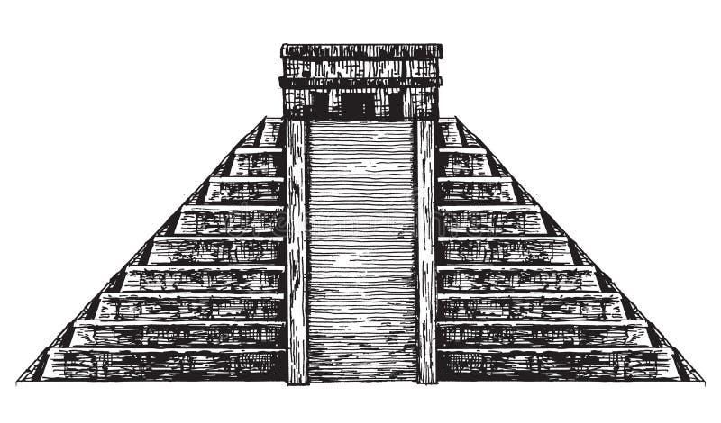 Μεξικό Μεξικάνικη πυραμίδα σε ένα άσπρο υπόβαθρο ελεύθερη απεικόνιση δικαιώματος