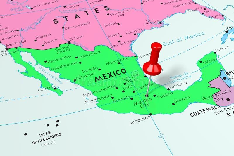 Μεξικό, Πόλη του Μεξικού - πρωτεύουσα, που καρφώνεται στον πολιτικό χάρτη διανυσματική απεικόνιση