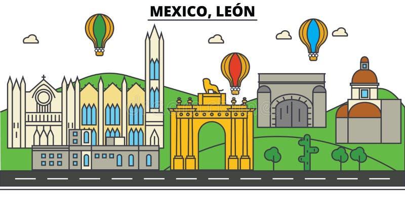 Μεξικό, Leon Ορίζοντας πόλεων, αρχιτεκτονική, κτήρια, οδοί, σκιαγραφία, τοπίο, πανόραμα, ορόσημα editable διανυσματική απεικόνιση