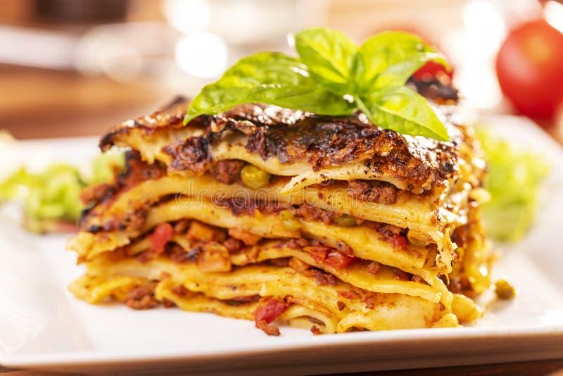 Μερίδα του lasagna στοκ εικόνες