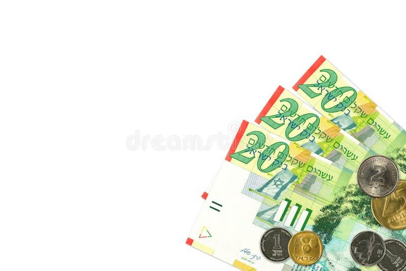 Μερικά ισραηλινά νέα τραπεζογραμμάτια και νομίσματα Shekel στοκ εικόνες με δικαίωμα ελεύθερης χρήσης