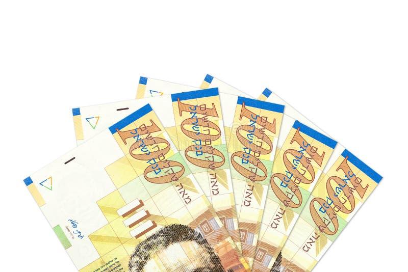 Μερικά ισραηλινά 100 νέα τραπεζογραμμάτια Shekel στοκ εικόνες με δικαίωμα ελεύθερης χρήσης