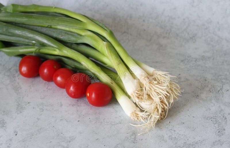 Μερικές κρεμμύδι και ντομάτες άνοιξη στοκ φωτογραφία με δικαίωμα ελεύθερης χρήσης