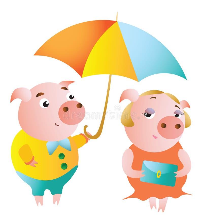 Μερικοί χοίροι και μια ημερομηνία κάτω από μια ομπρέλα απεικόνιση αποθεμάτων