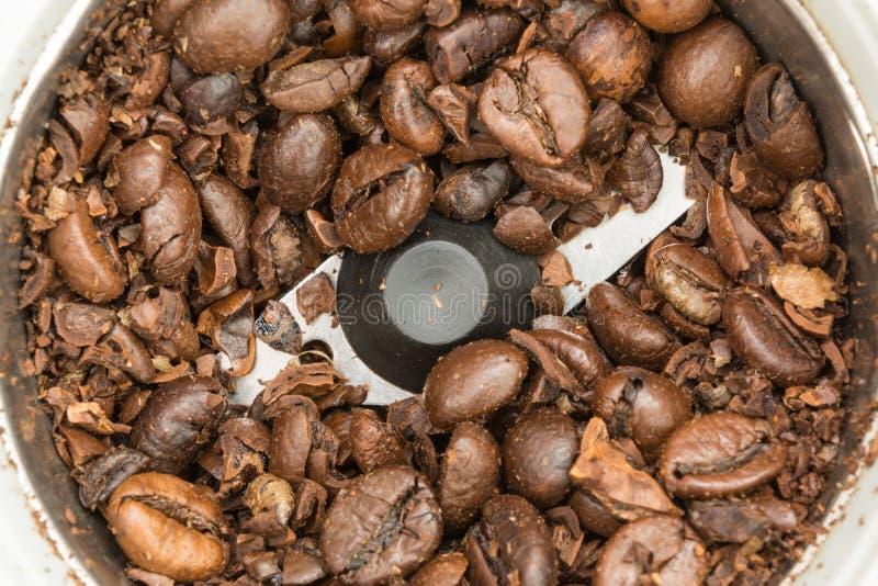 Μερικώς αλεσμένα τηγανισμένα σκοτεινά φασόλια καφέ σε έναν αυτόματο μύλο καφέ, υπόβαθρο τροφίμων στοκ φωτογραφίες