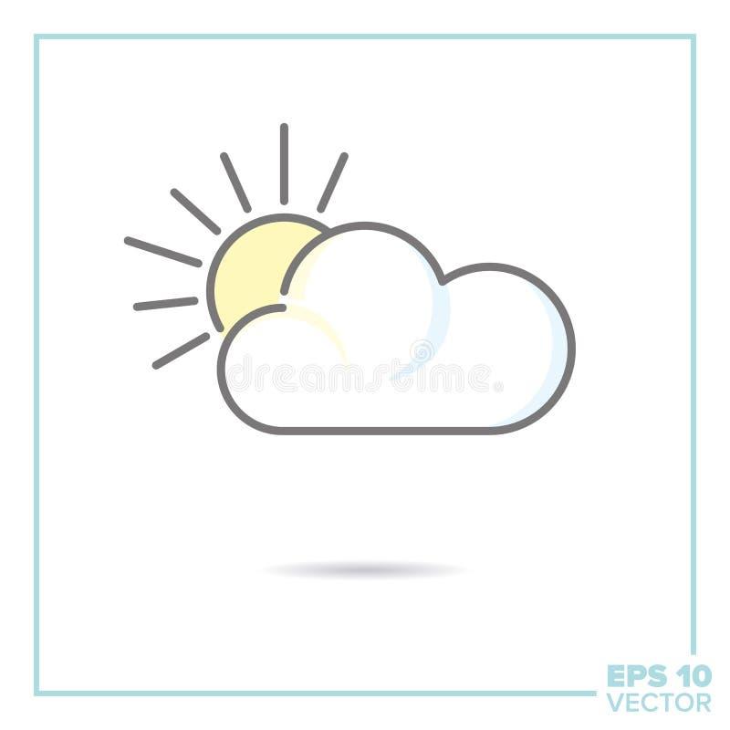 Μερικώς νεφελώδης - εικονίδιο γραμμών ήλιων και σύννεφων με το χρώμα κρητιδογραφιών fil ελεύθερη απεικόνιση δικαιώματος