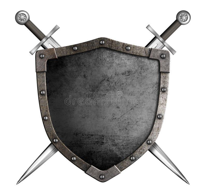 Μεσαιωνικά ασπίδα και ξίφη ιπποτών ως κάλυψη των όπλων στοκ φωτογραφίες με δικαίωμα ελεύθερης χρήσης