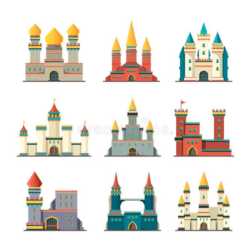 Μεσαιωνικά κάστρα Παλατιών πύργων παραμυθιού οικοδομήσεων κινούμενων σχεδίων διανυσματικές εικόνες κάστρων κτηρίων επίπεδες ελεύθερη απεικόνιση δικαιώματος