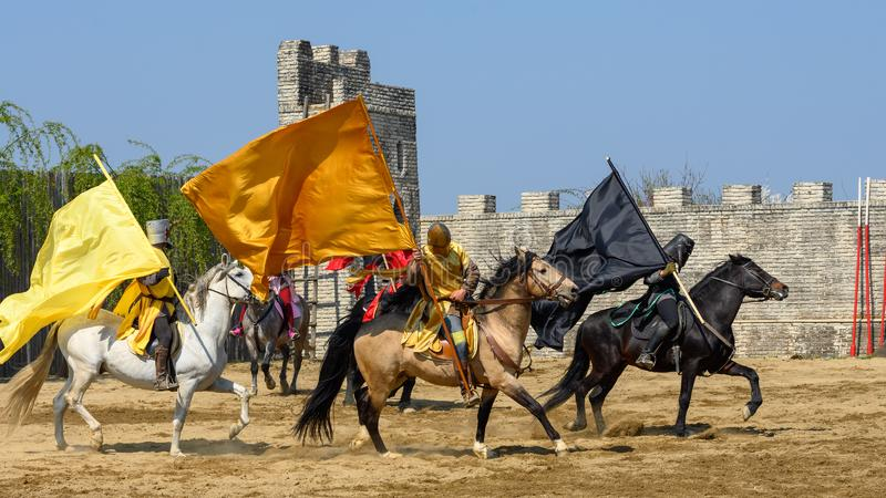 Μεσαιωνικά πρωταθλήματα ιπποτών της Τρανσυλβανίας στη Ρουμανία στοκ εικόνες