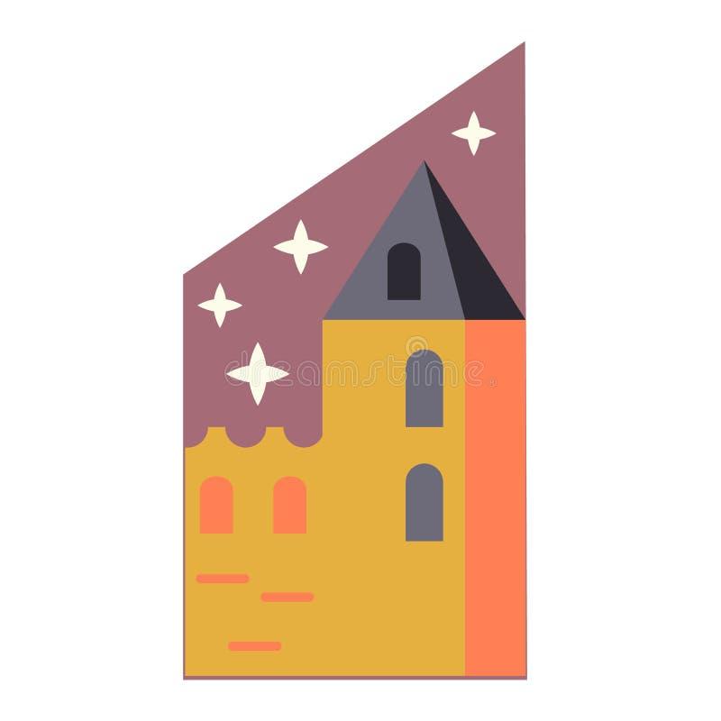 Μεσαιωνική απλή απεικόνιση κάστρων στο άσπρο υπόβαθρο απεικόνιση αποθεμάτων
