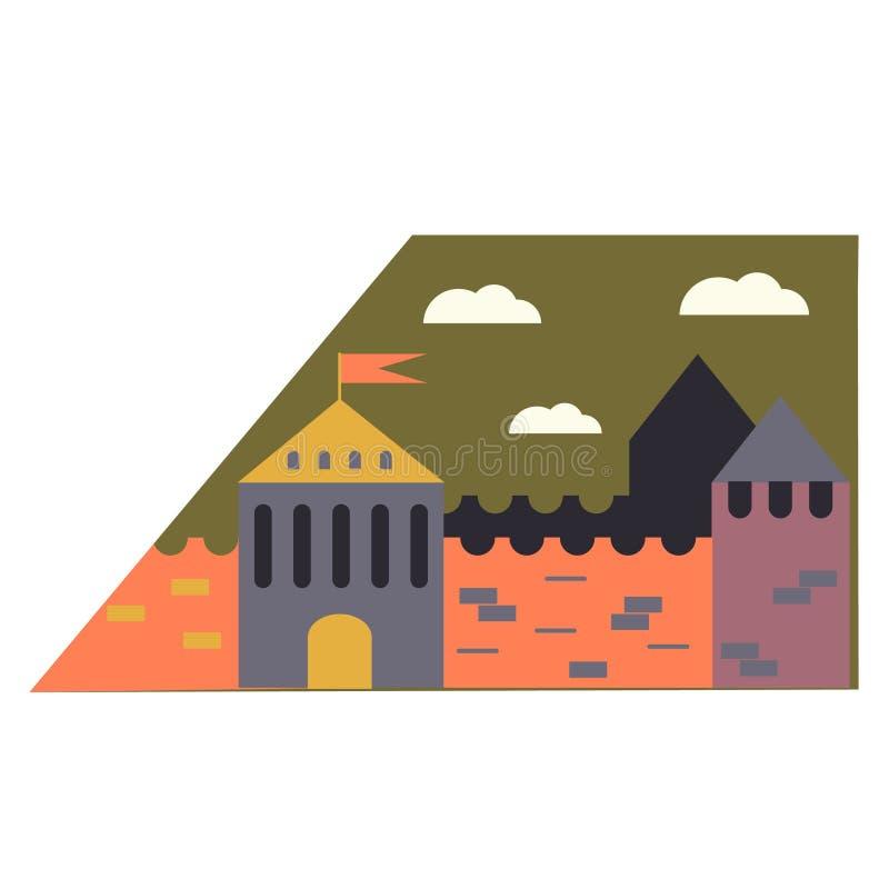 Μεσαιωνική απλή απεικόνιση πόλεων στο άσπρο υπόβαθρο ελεύθερη απεικόνιση δικαιώματος