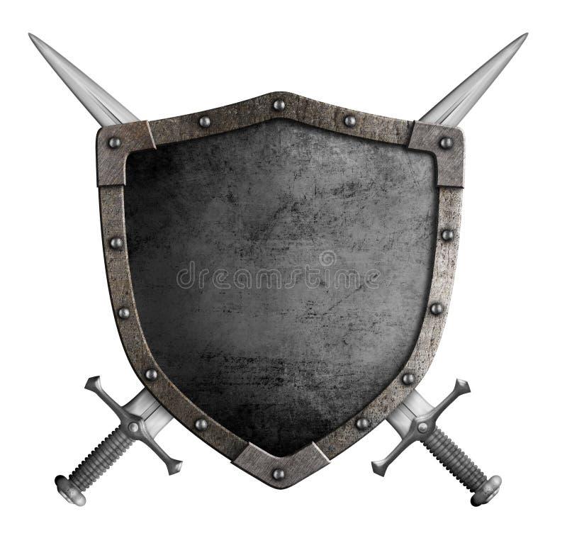 Μεσαιωνική ασπίδα ιπποτών καλύψεων των όπλων και διασχισμένος στοκ εικόνες