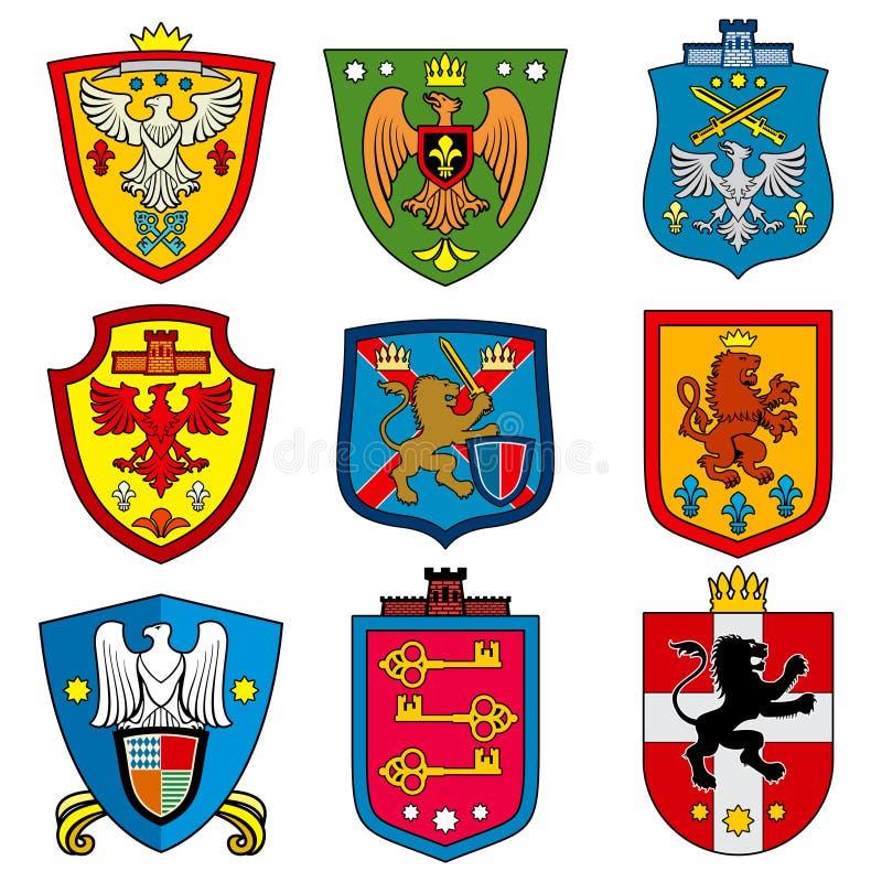 Μεσαιωνική βασιλική κάλυψη οικογενειακής δυναστείας των όπλων στο διανυσματικό σύνολο ασπίδων ελεύθερη απεικόνιση δικαιώματος