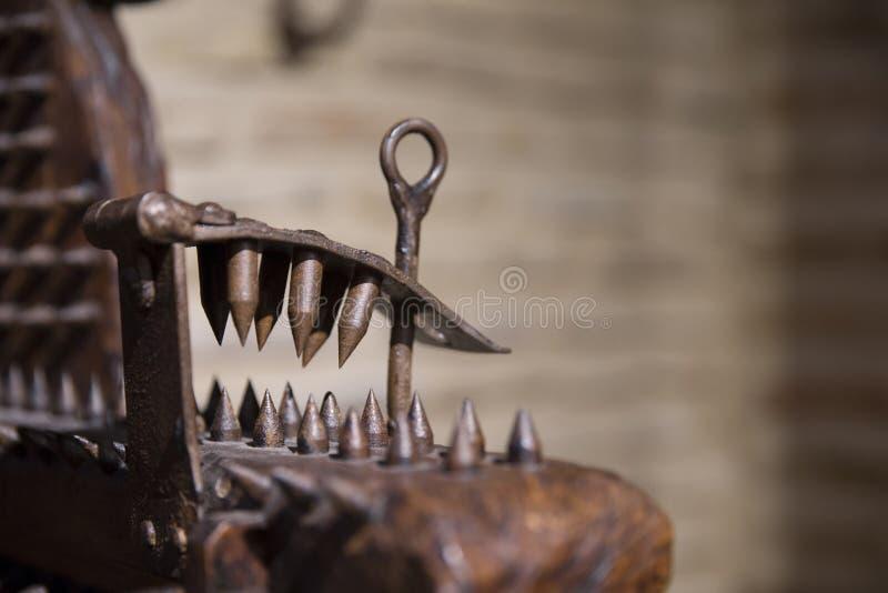 Μεσαιωνική λεπτομέρεια καρεκλών βασανιστηρίων στοκ φωτογραφίες
