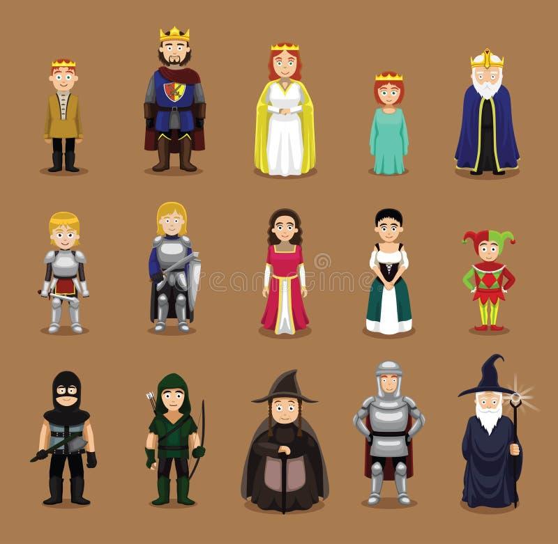 Μεσαιωνική διανυσματική απεικόνιση κινούμενων σχεδίων συνόλου χαρακτήρων ελεύθερη απεικόνιση δικαιώματος