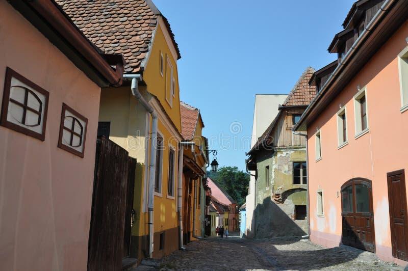 μεσαιωνική οδός sighisoara στοκ εικόνα με δικαίωμα ελεύθερης χρήσης