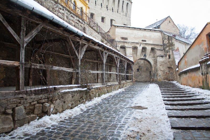 μεσαιωνική παλαιά οδός πό&lambd στοκ εικόνες