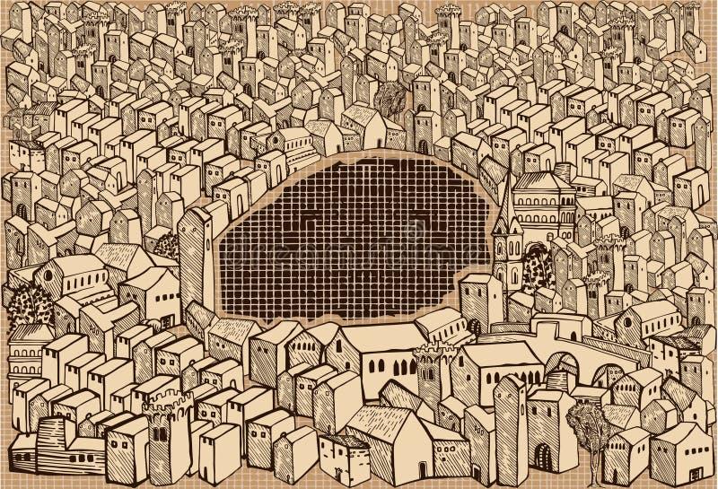μεσαιωνική πόλη σεπιών απεικόνιση αποθεμάτων