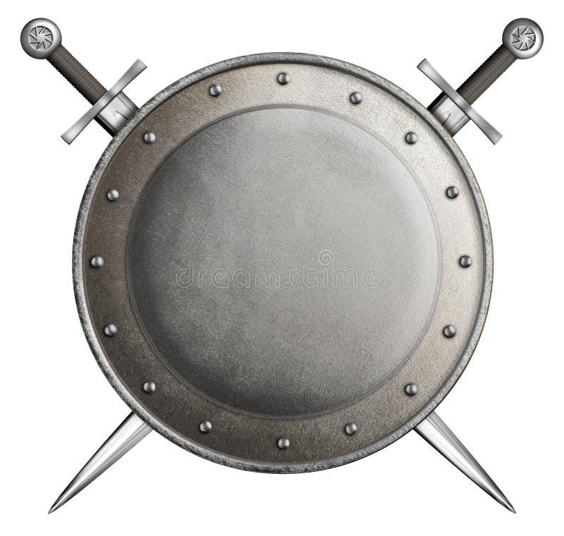 Μεσαιωνική στρογγυλή ασπίδα δύο ξίφη που απομονώνονται με στοκ φωτογραφία με δικαίωμα ελεύθερης χρήσης