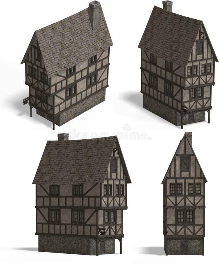 μεσαιωνική ταβέρνα σπιτιών απεικόνιση αποθεμάτων