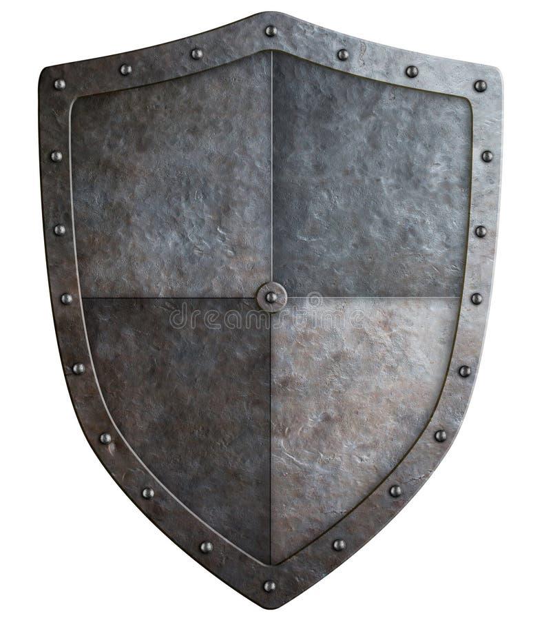 Μεσαιωνική τρισδιάστατη απεικόνιση ασπίδων ή καλύψεων των όπλων που απομονώνεται στοκ φωτογραφία