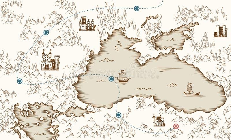 Μεσαιωνική χαρτογραφία, παλαιός χάρτης θησαυρών πειρατών, διανυσματική απεικόνιση απεικόνιση αποθεμάτων