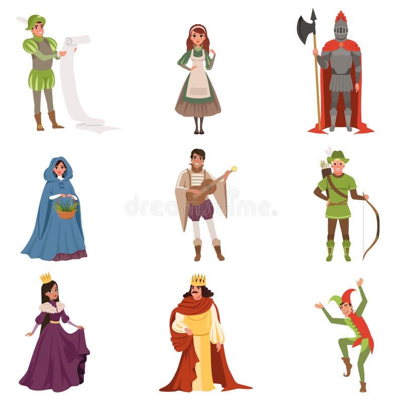 Μεσαιωνικοί χαρακτήρες ανθρώπων των ευρωπαϊκών διανυσματικών απεικονίσεων περιόδου Μεσαιώνων ιστορικών διανυσματική απεικόνιση