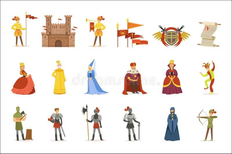 Μεσαιωνικοί χαρακτήρες κινουμένων σχεδίων και ευρωπαϊκό σύνολο ιδιοτήτων περιόδου Μεσαιώνων ιστορικό εικονιδίων διανυσματική απεικόνιση
