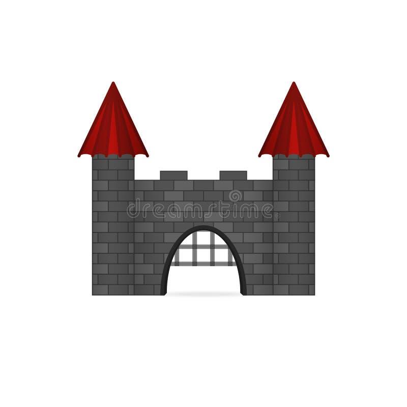 Μεσαιωνικός ενισχυμένος βασιλικός τοίχος κάστρων βασιλιάδων με τις ανοικτές πύλες ελεύθερη απεικόνιση δικαιώματος
