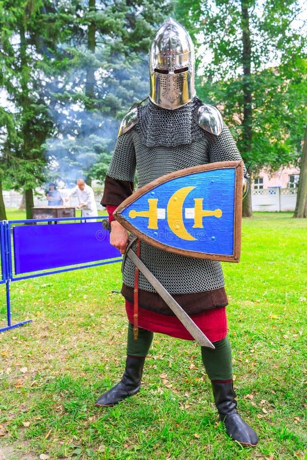 Μεσαιωνικός ιππότης με το ξίφος και την ασπίδα υπό εξέταση στοκ φωτογραφίες με δικαίωμα ελεύθερης χρήσης