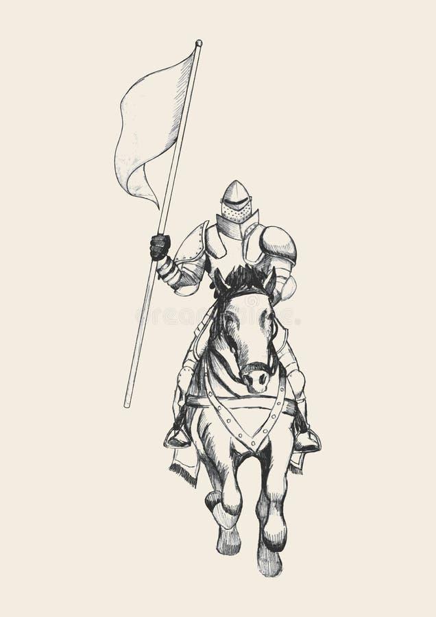 Μεσαιωνικός ιππότης στο άλογο που φέρνει μια σημαία ελεύθερη απεικόνιση δικαιώματος
