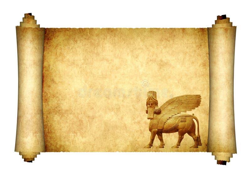 Μεσαιωνικός κύλινδρος με το lamassu ελεύθερη απεικόνιση δικαιώματος
