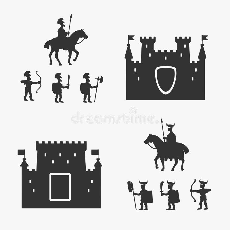 Μεσαιωνικός στρατός και αρχαία κάστρα απεικόνιση αποθεμάτων