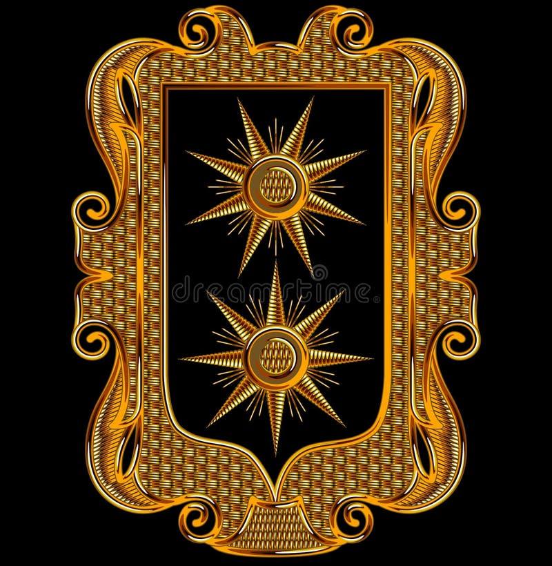 Μεσαιωνικό διανυσματικό πλαίσιο κεντητικής Goldwork ελεύθερη απεικόνιση δικαιώματος